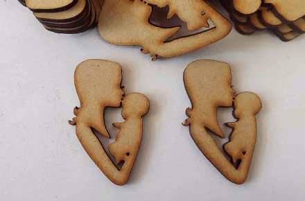 wooden craft baby & mother  shapes, laser cut 3mm mdf embellishments